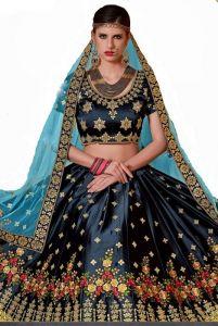 JANKISILKMILL Women's Silk Semi-Stitched Lehenga Choli- Dark Blue