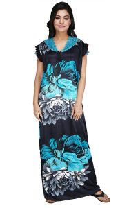 """Hydes Women's Satin Nighty Nightwear Floral Roses Print (Red-Black)  &  (Blue-Black ) Free Size Chest- Maximum 46"""" Length 56"""" Height of Model 5 Feet 6"""""""