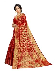 Ethnic Forest JacquardSilk Saree With Jaquard Blouse Piece For Women (Red)