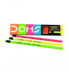 DOMS Neon School Essentials for Students Good Looking Pencils with Rubber Tipped (Color: Neon)