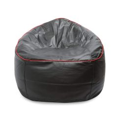VSK Bean Bag Sofa Mudda Cover Red Piping 3XL 35-inch (Without Beans) - Black