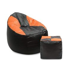 VSK Combo XXXL Sofa Mudda Bean Bag Cover with Round Footstool/Puffy Multicolored (Without Beans) - Orange & Black