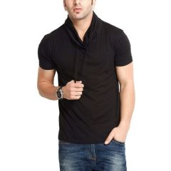 Fashion Gallery Cotton High Neck Casual T-shirt For Men's