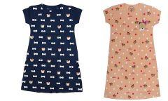 Buy 1 Get 1 Babydoll Printed Girls Kids Nightdress Super Soft Nightwear Cotton Hosiery One Piece Nighty