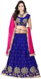 Brand Junction Art Silk Embroidered Stitched Lehenga Choli and Dupatta Set - Royal Blue
