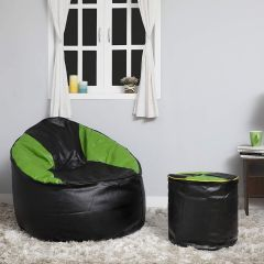 VSK Combo XXXL Sofa Mudda Bean Bag Cover with Round Footstool/Puffy (Without Beans) - Black & Green