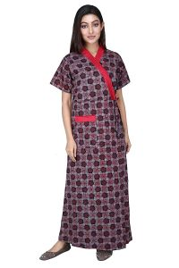 Baby Doll Hydes Women's Cotton Front Open Adjustable Nighty (Clo_Nig_8048 | Red | XL)