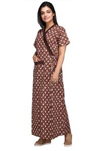 Babydoll ® 100% Pure Cotton Robe   Housecoat   Nighty   Sleepwear   Night Gown for Women Front Open Adjustable Size   Brown   Clo_Nig_5159