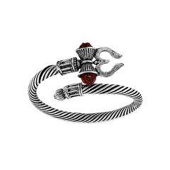 Fashionaccessories | Rudraksha Trishul Damroo Designer Oxidized Silver Bahubali Rakhi Kada Kadas Bracelet Unisex Cuff Bracelets for Men & Women Brothers Boys Stylish Bracelet-(Pack of 1)