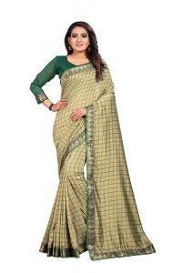 Ethnic Forest Printed Geometric Rich Green embellished Ethnic Silk Saree for Women (Green)