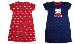 Buy 1 Get 1 Babydoll Printed Girls Kids Nightdress Super Soft Nightwear Cotton Hosiery One Piece Nighty for Girls Red and Blue