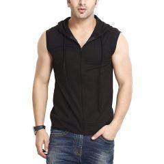 Fashion Gallery Men's Sleeveless Hooded Black T-shirt (Medium)