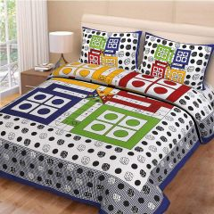 FABRIC EMPIRE Luxury Jaipuri Cotton Printed Double Bedsheet With 2 Pillow Cover (Size: 90 x 100 Inch) (Multi-Color)