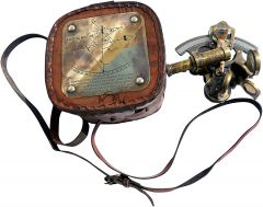 OCEAN REPLICAS  Best Astrolabe Brass Sextant with Leather Box