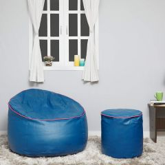 VSK Combo XXXL Sofa Mudda Bean Bag Cover with Round Footrest/Puffy (Without Beans) - Royal Blue