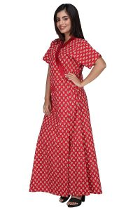 Baby Doll Hydes Women's Cotton Front Open Adjustable Nighty (Clo_Nig_8063 | Red | XL)