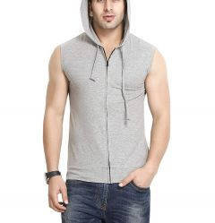 Fashion Gallery Men's Sleeveless Hooded T-shirts (Medium)