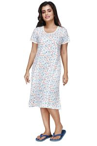 Hydes® Made in India - 100% Pure Cotton Short Nighty, Sleepwear |Size - Large Chest 36 Length 39 | White