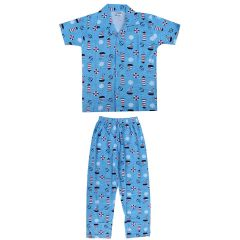 Bonnitoo - Self Printed Boys Kids Night Suit Super Soft Nightwear | Color: Turquoise