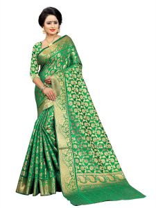 Ethnic Forest JacquardSilk Saree With Jaquard Blouse Piece For Women (Green)