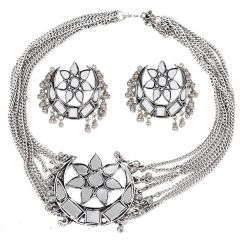 Afghani Oxidised German Silver Traditional Mirror Choker Necklace Set for Women and Girls antique & Modern look