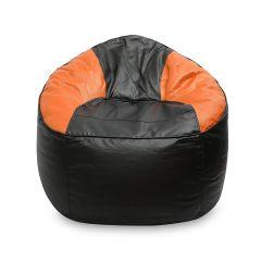 Vsk Bean Bag Sofa Mudda Cover 3XL 35- inch (Without Beans) - Black & Orange