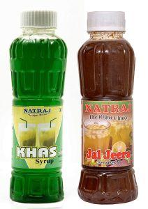 Natraj The Right Choice Khus Sharbat & Ras Jeera Sharbat Syrup (Pack of 2 x 750 ml Bottle)