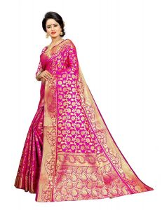 Ethnic Forest JacquardSilk Saree With Jaquard Blouse Piece For Women (Pink)