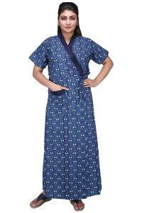 Baby Doll 100% Pure Cotton House Coat Nighty for Women Ladies Full Long Front Open with Belt Adjustable in XL - White/Blue