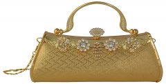 VSK Women's Clutch With Stone Work - Gold