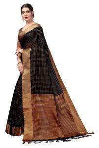 EthnicForest Women's Cotton Blend Saree with Blouse Piece - Black