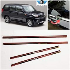 Speed 99~RPM | Chrome Stainless Steel Lower Window Garnish | Compatible With Mahindra TUV 300 | Complete Set Of 4 Pcs | Premium Exterior Accessories
