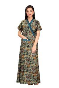 Babydoll Women's Cotton Full Long Front Open Belt Adjustable Nighty House Coat Night Wear Dress (Multi | Large)