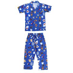 Brand: Bonnitoo Hydes Boy's Night Suit Super Soft Nightwear Cotton Night Suit Full Pant Half Sleeves Shirt  - Blue