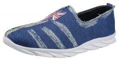 Hillsvog Men Synthetic Slip On Casual Sneakers Shoes | Blue Denim