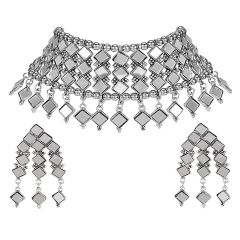 German Silver Mirror Works Jewellery Peacock Choker Necklace Silver Plated Necklace Earring Set for Women & Girls