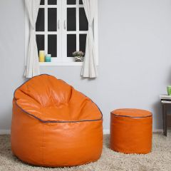 VSK Combo XXXL Sofa Mudda Bean Bag Cover with Round Footrest/Puffy (Without Beans) - Orange