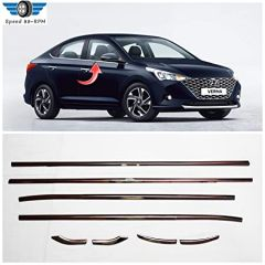 Speed 99~RPM Chrome Stainless Steel Iower Window Garnish Compatible With HYUNDAI VERNA 2017-20 Complete Set Of 8pcs Exterior Accessories Premium