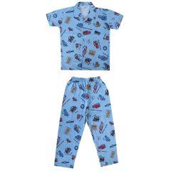Hydes Super Soft Nightwear Cotton Suit Half Sleeves - Blue