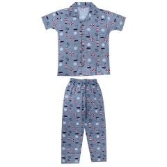 Hydes Boys Night Suit | Super Soft Nightwear Cotton Suit|Grey