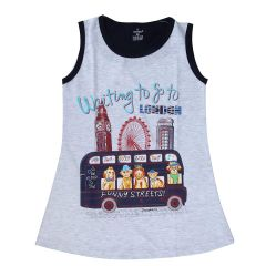 Chocoberry - Self Printed Girls Kids Short Dress Aline Frock For Summer