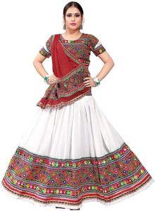 JANKISILKMILL Women's Silk Semi-Stitched Lehenga Choli - White/Red