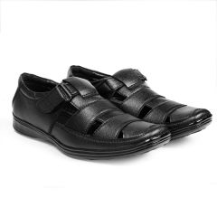 Bxxy's Black Synthetic Leather Roman Sandals For Men