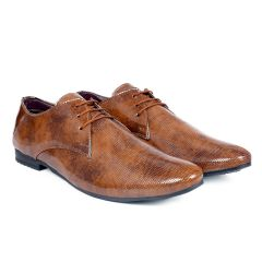 Bxxy's Men New Arrival Patent Material Party Wear Casual Derby Shoes| Brown
