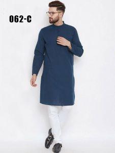 Men's Stylish & Fashionable Cotton Ethnic Kurta with White Color Semi Cotton Pyjama Set (Pack of 1)