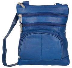 ASPENLEATHER Blue Genuine Leather Cross Body Bag