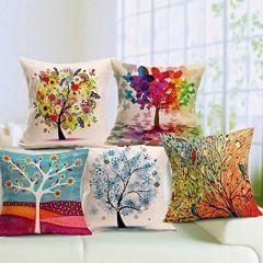 Tanish Tanishkam Decor Digital Printing Jute Cushion Covers (Multicolour) - Set of 5