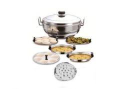 Aquiriosindia Necessary for Kitchen Multipurpose Plain Bottom Multi Kadai/Idli Cooker