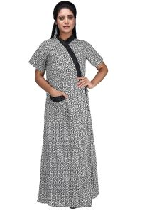 Baby Doll 100% Pure Cotton House Coat Nighty for Women Ladies Full Long Front Open with Belt Adjustable in XL
