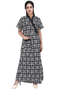 Brand: Baby Doll Womens Cotton Front Open House Coat Nighty with Adjustable Belt (Black| XL)